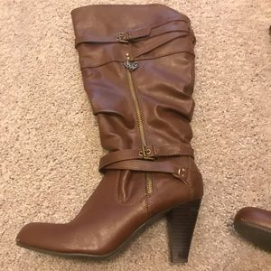 """Brown Guess 3"""" Buckle Tall Boots"""